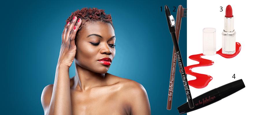 1. Be Fabulous eyeliner pencil with sharpener 16.95 2. Be Fabulous eyebrow pencil with eyebrow brush 17.95 3. Lipstick (various shades) 29.95 4. Be Fabulous volumising mascara 26.95